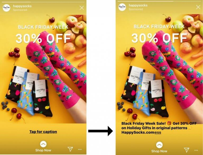 Instagram Story Ads with short captions and text