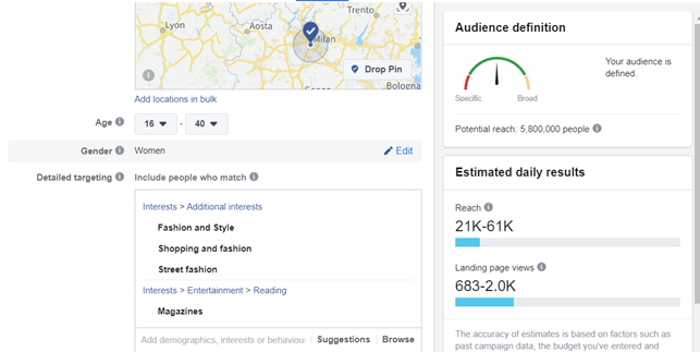Facebook Ads manager: selecting audience interests