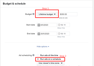 Setting Instagram Ads budget and schedule