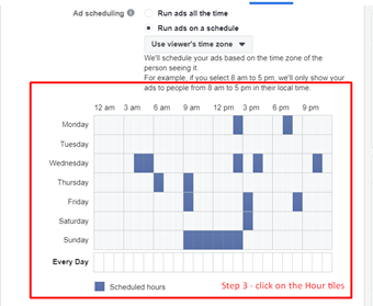 Selecting Fb ads schedule time